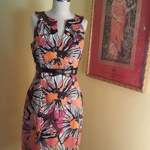 David Meister Floral-Print Sheath Dress   Size 6